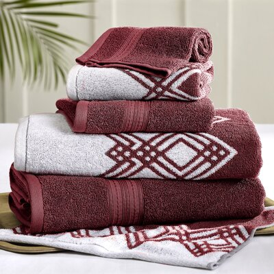 6 Piece Towel Set Color: Red