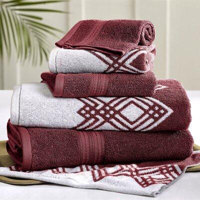 6 Piece Towel Set Color: Red