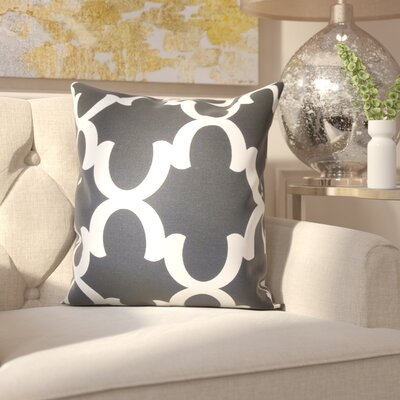 Clyburn 100% Cotton Throw Pillow Color: Black, Size: 18 x 18