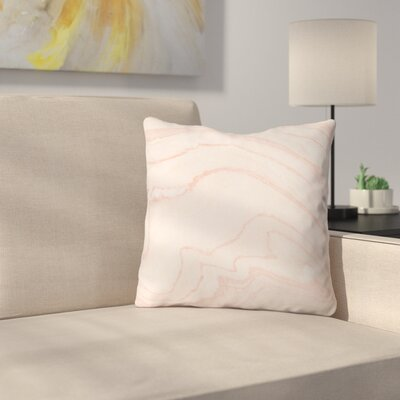 Currans Blush Marble Outdoor Throw Pillow Size: 16 H x 16 W x 4 D