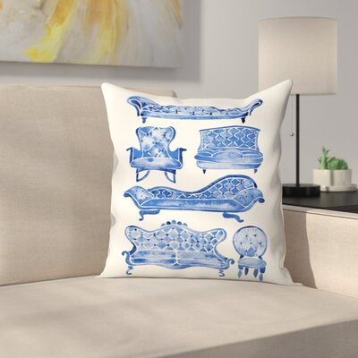 Victorian Lounge Throw Pillow Color: Navy, Size: 16 x 16