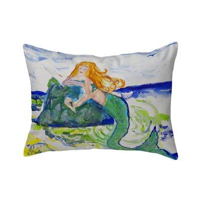 Henegar Mermaid on Rock Indoor/Outdoor Lumbar Pillow