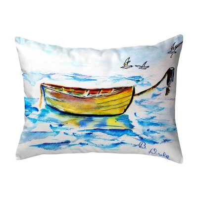 Henegar Yellow Row Boat Indoor/Outdoor Lumbar Pillow