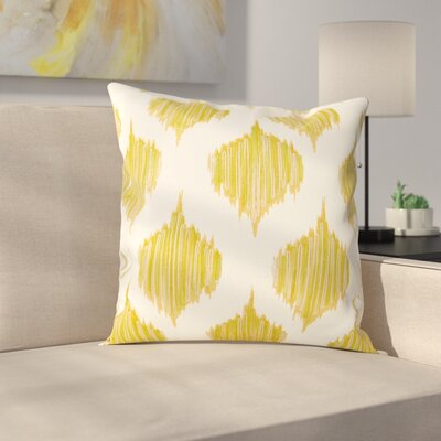 Aumiller Stitched Ikat Geometric Cotton Throw Pillow Color: Mustard
