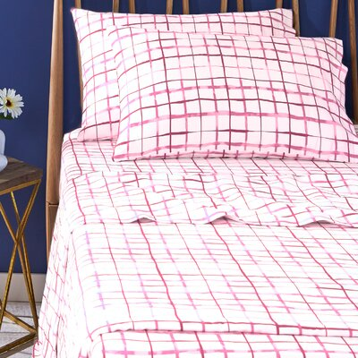 Watercolor Plaid 100% Cotton Sheet Set Size: King, Color: Pink