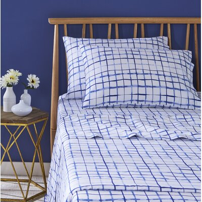Watercolor Plaid 100% Cotton Sheet Set Size: King, Color: Blue