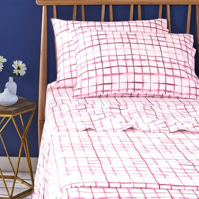 Watercolor Plaid Pillowcase Pair Size: Standard, Color: Pink