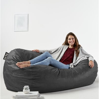 Big Joe Media Bean Bag Sofa Upholstery: Black