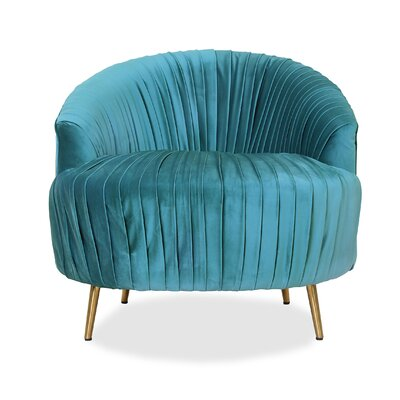 Ronna Ruched Barrel Chair Upholstery: Turquoise