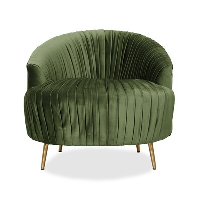 Ronna Ruched Barrel Chair Upholstery: Kale Green