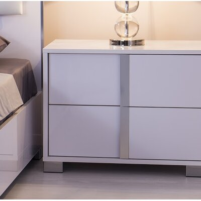 Granberry 2 Drawers Nightstand Color: Glistening White, Door Configuration: Right