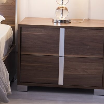Granberry 2 Drawers Nightstand Color: Shadow Walnut, Door Configuration: Left