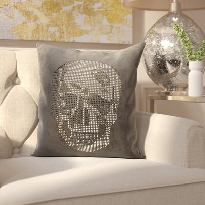 Bridgnorth Rhinestone Skull Suedette Throw Pillow Color: Dark Grey