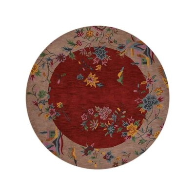 Brandie Hand-Woven Wool Red/Camel Area Rug Rug Size: Round 10