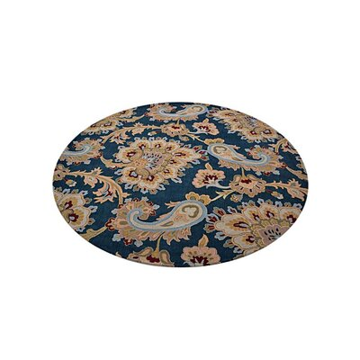 Reser Hand-Woven Blue Area Rug Rug Size: Round 10