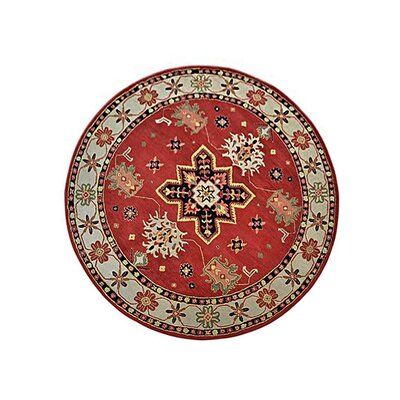 Racheal Hand-Woven Wool Red/Beige Area Rug Rug Size: Round 10