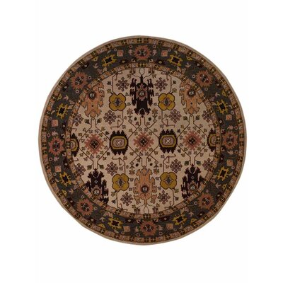 Vargas Vintage Hand-Woven Wool Cream/Gray Area Rug Rug Size: Round 10