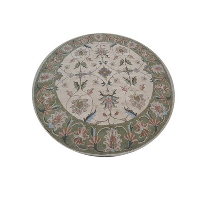 Resnick Hand-Woven Beige/Green Area Rug Rug Size: Round 10