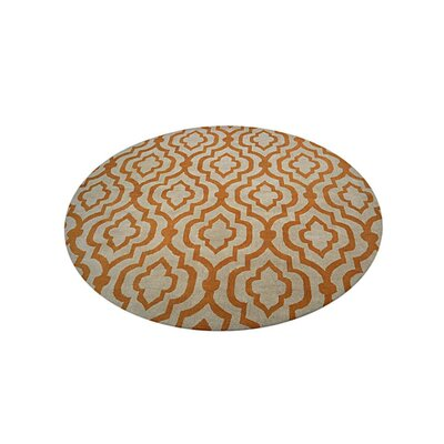 Beamish Hand-Woven White/Gold Area Rug Rug Size: Round 10