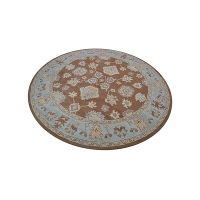 Abraham Vintage Hand-Woven Wool Brown/Light Blue Area Rug Rug Size: Round 10
