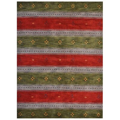 Manns Hand-Woven Wool Green/Blue Area Rug Rug Size: Rectangle�5' x 8'