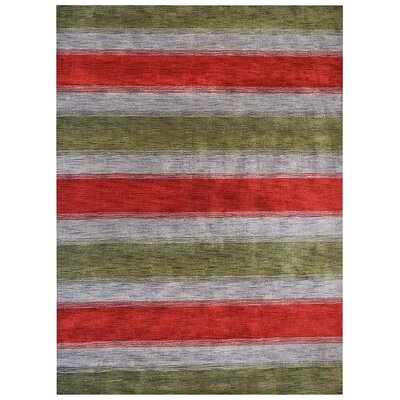 Jefferson Place Contemporary Hand-Woven Wool Green/Blue Area Rug Rug Size: Rectangle 5 x 8
