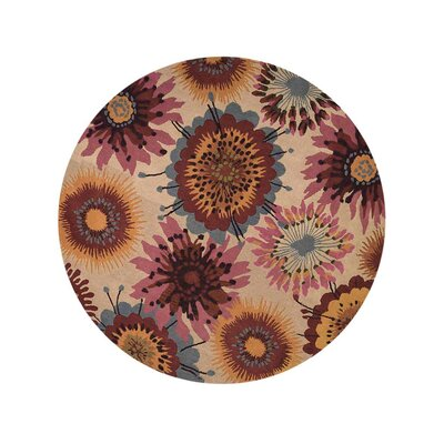 Duechle Hand-Woven Beige Area Rug Rug Size: Round 10
