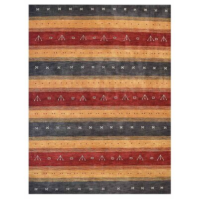Manns Hand-Woven Wool Charcoal/Gold Area Rug