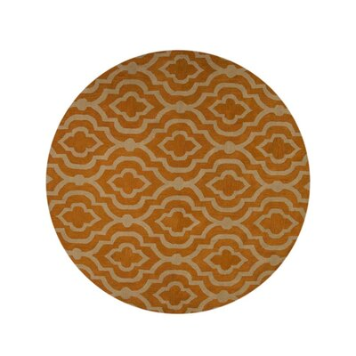 Lucero Hand-Woven Wool Gold/White Area Rug Rug Size: Round 10