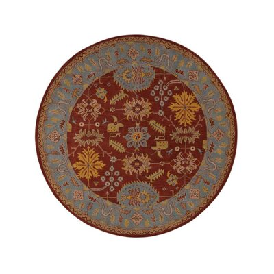 Corine Hand-Woven Wool Red/Blue Area Rug Rug Size: Round 10'