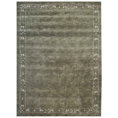 Manns Hand-Woven Wool Green Area Rug
