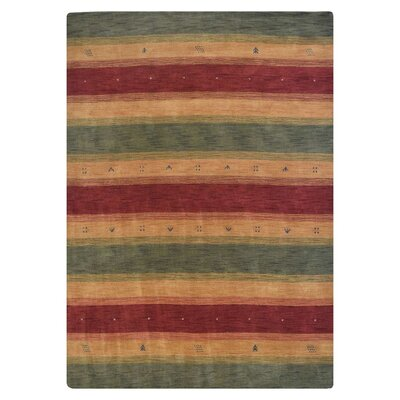 Avent Loom Hand-Woven Wool Red/Yellow/Green Area Rug Rug Size: Rectangle 5 x 8
