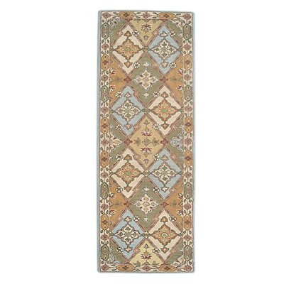 Adcox Vintage Hand-Woven Wool Blue/Green Area Rug Rug Size: Runner 26 x 8