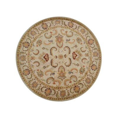 McLeansboro Vintage Hand-Woven Wool Beige/Ivory Area Rug Rug Size: Round 10