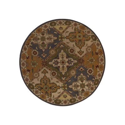 Adcox Vintage Hand-Woven Wool Blue/Green Area Rug Rug Size: Round 8