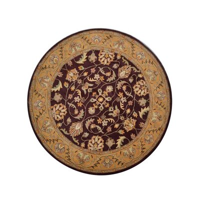 Hinnenkamp Hand-Woven Gold Area Rug Rug Size: Round 5