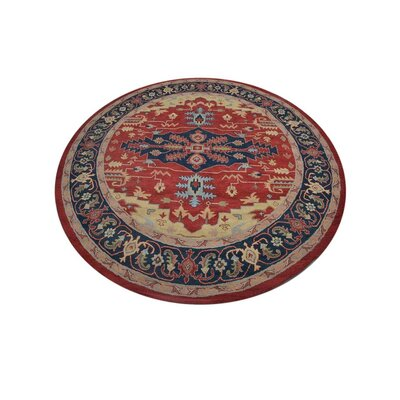 Totternhoe Vintage Hand-Woven Wool Red/Blue Area Rug Rug Size: Round 10