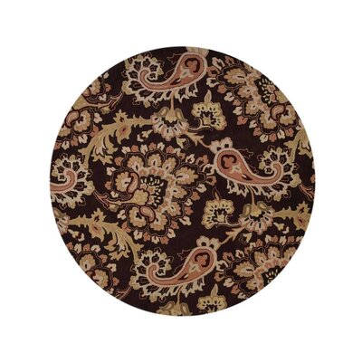 Kinzer Floral Hand-Woven Wool Brown Area Rug Rug Size: Round 10