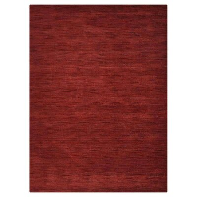Olvera Hand-Woven Wool Dark Red Area Rug