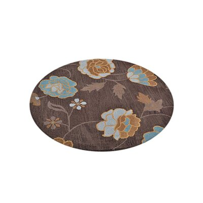 Craven Hand-Woven Wool Brown Area Rug Rug Size: Round 10