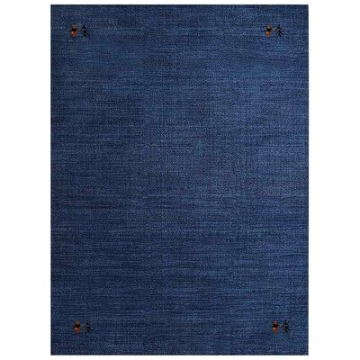 Manns Hand-Woven Wool Blue Area Rug