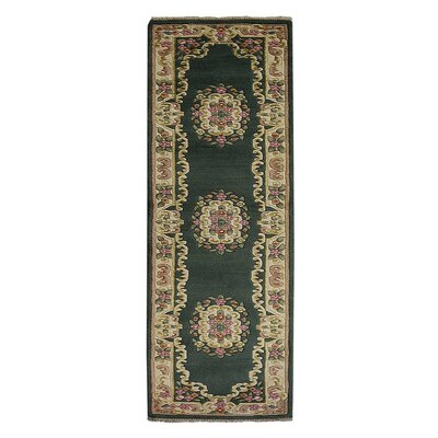 Selma Persian Hand-Woven Wool Green Area Rug Rug Size: Runner�26 x 10