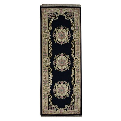 Selma Persian Hand-Woven Wool Navy Area Rug Rug Size: Runner�26 x 10