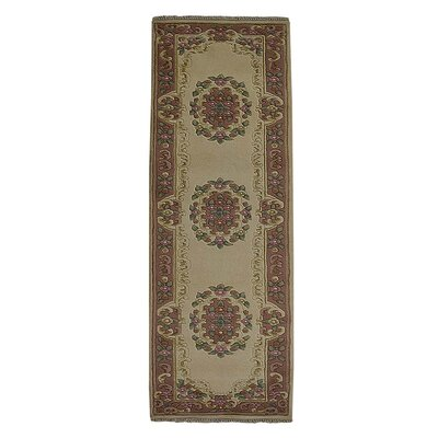 Selma Persian Hand-Woven Wool Ivory/Rose Area Rug Rug Size: Runner�210 x 52
