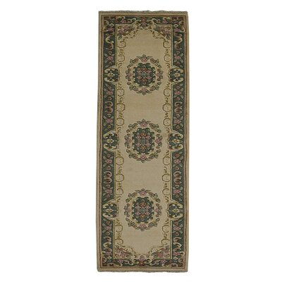 Selma Persian Hand-Woven Wool Ivory Green Area Rug Rug Size: Runner�26 x 10