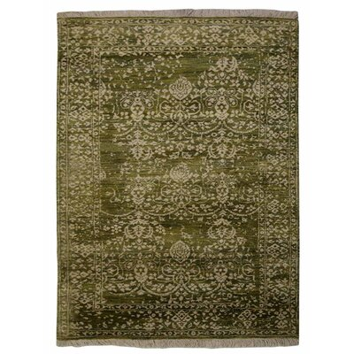 Doylestown Persian Hand-Woven Wool Green/Cream Area Rug