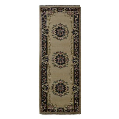 Selma Persian Hand-Woven Wool Ivory/Blue Area Rug
