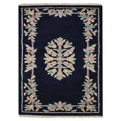 Selma Persian Hand-Woven Wool Navy Area Rug