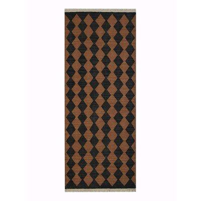 Zayas Hand-Woven Brown/Charcoal Area Rug Rug Size: Runner 26 x 10