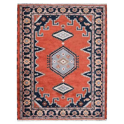 Pointer Afghan Hand-Woven Dark Orange/Navy Area Rug Rug Size: Rectangle 9 x 12